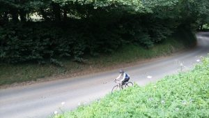 Karen, on the unpleasantly long Stanway climb