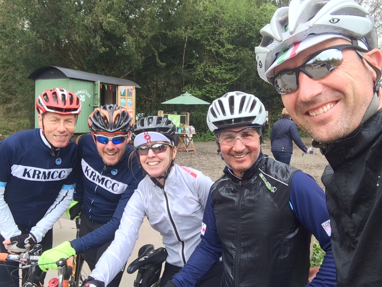 Photo of team at the top of Box Hill
