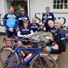 KRMCC cyclists pose for a photo on Box Hill