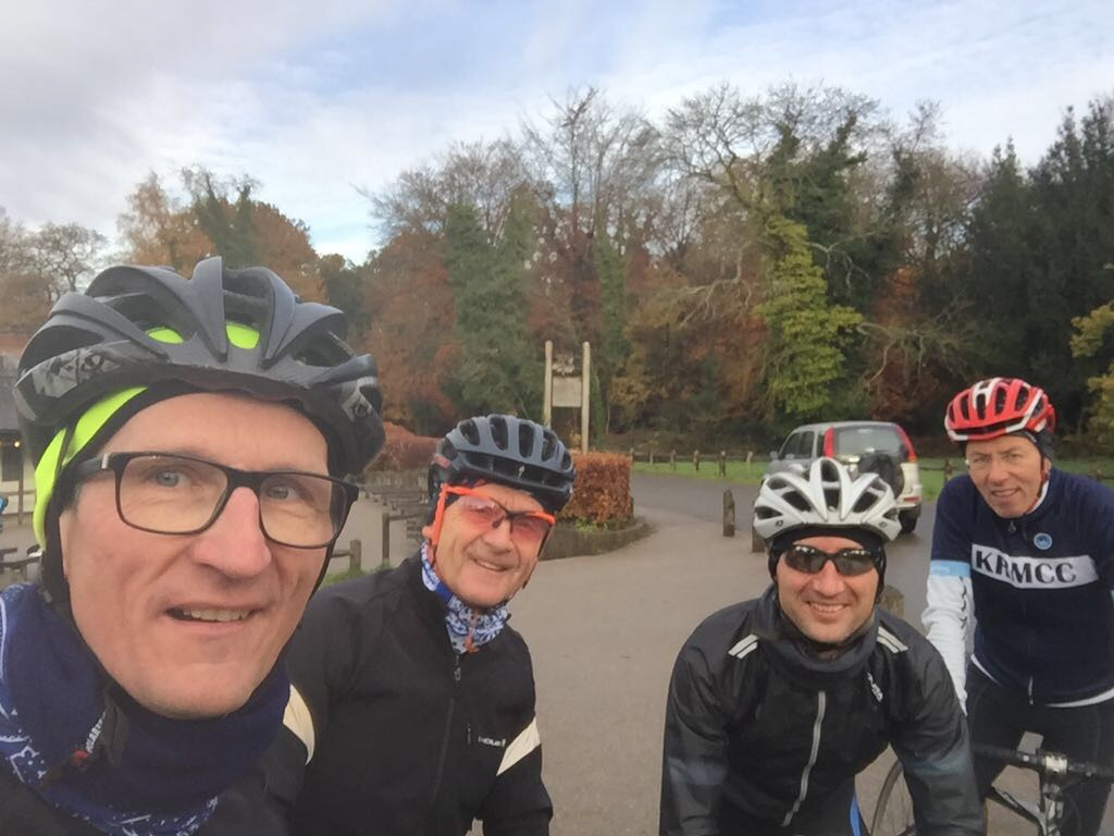 KMRCC Cyclists pose on Box Hill